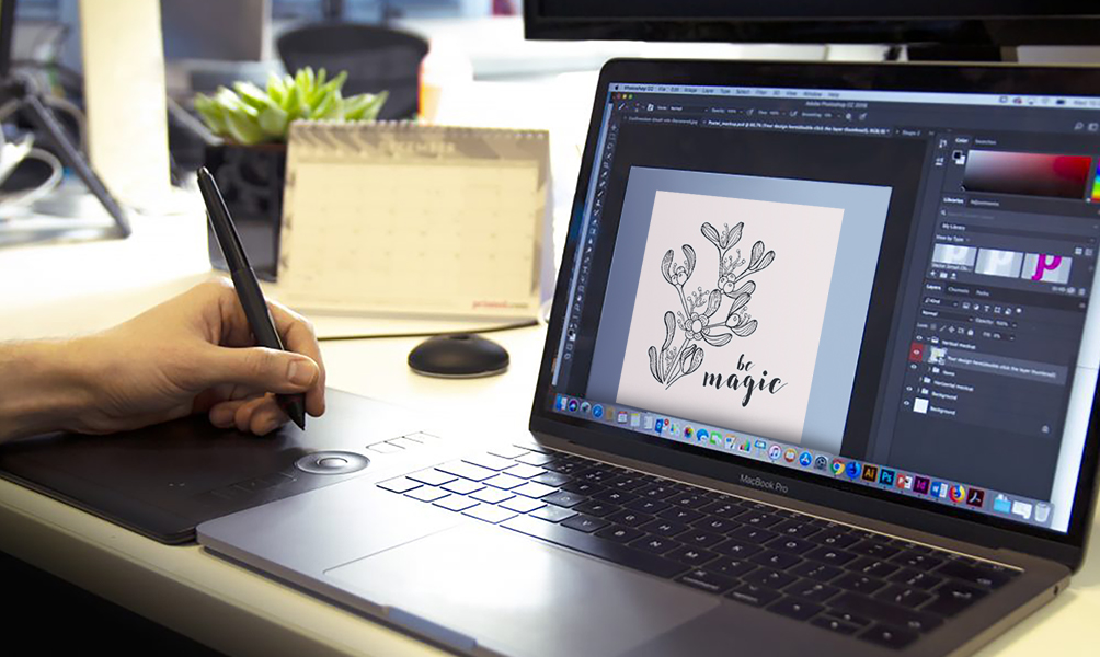 Image of designer using Photoshop