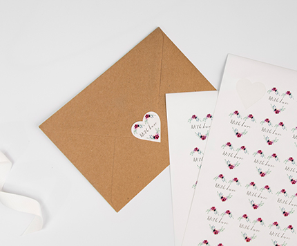 Wedding Heart Shaped Stickers
