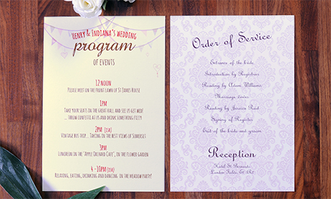 Wedding order of service printing from printed.com