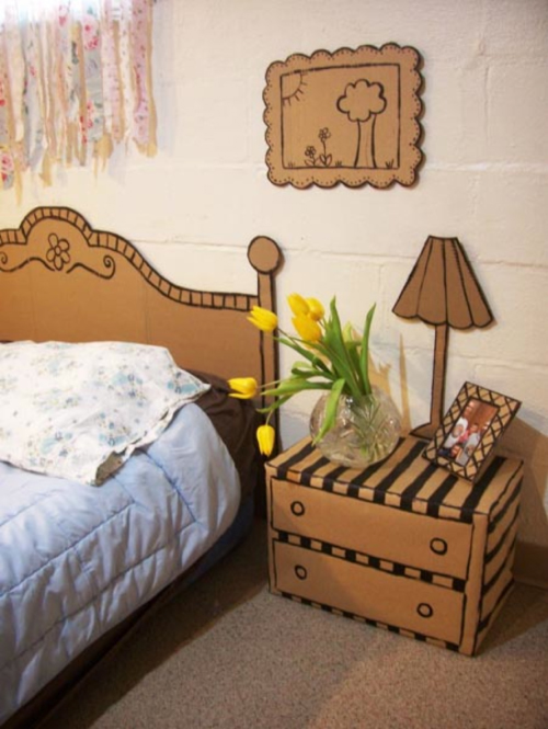 bedroom decorated in cardboard boxes