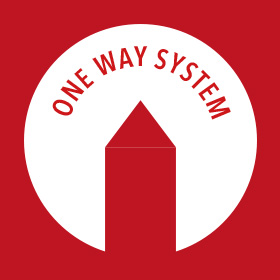 One Way System Red 500mm Round