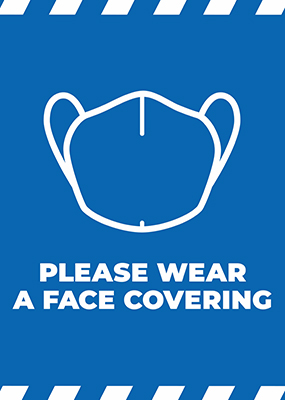 Please Wear Face Covering Blue A1 Portrait