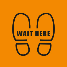 Wait Here Orange 300mm Round