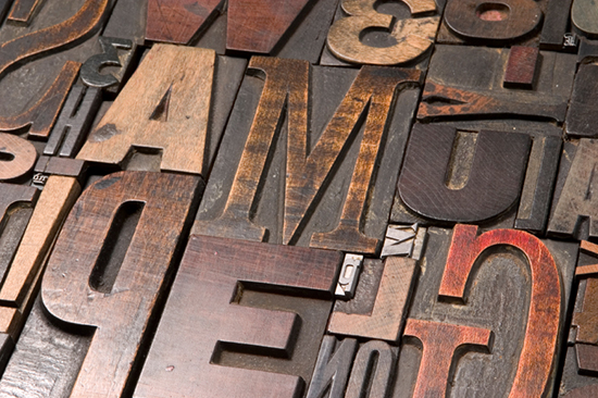 Typography lesson: different types of wooden letters