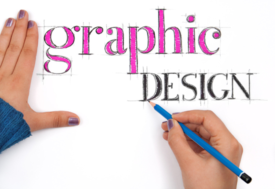 Typography lesson: graphic design sign with hands writing