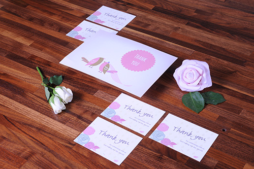 Ways to sell your wedding stationery | Thank you wedding cards in pink and blues