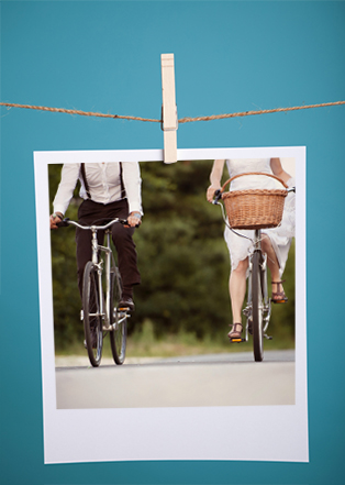 two vintage bicycle riders in a instragram polaroid photo