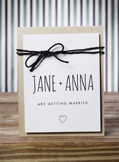 same-sex wedding stationery: wedding invitations
