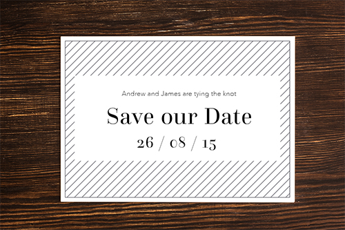 same-sex wedding stationery: save the date