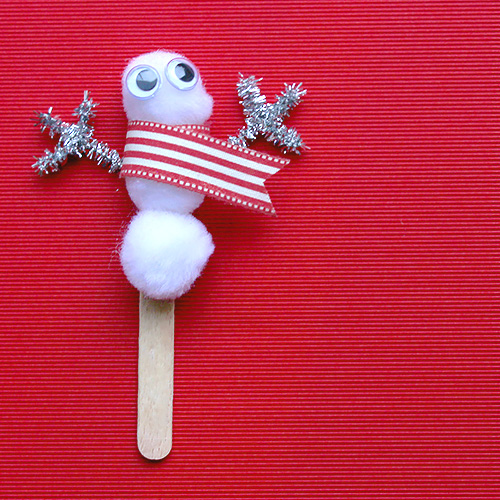 Christmas craft lolipop snowman