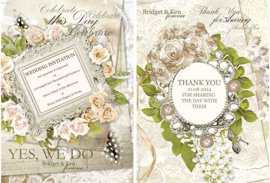 Soaking Bird Vintage wedding stationery designs wedding invitations and thank you cards