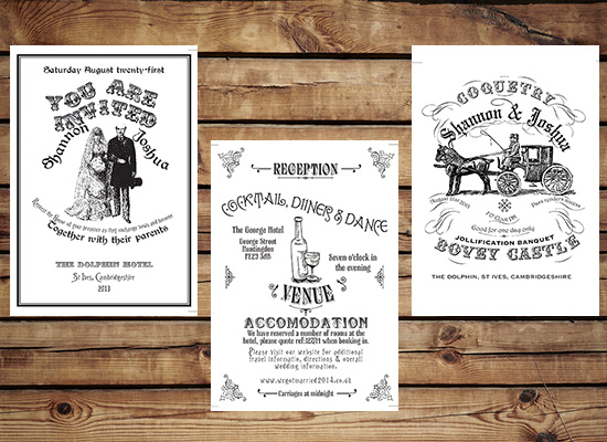Soaking Bird Vintage wedding stationery posters