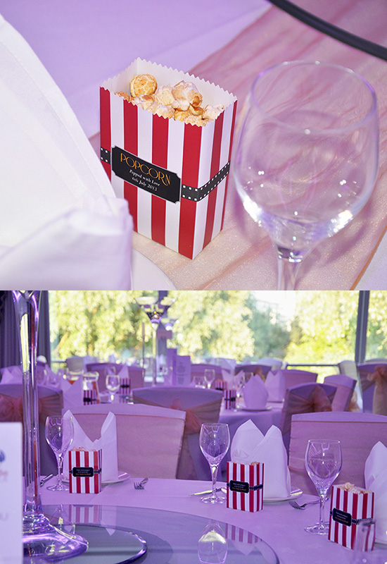 Cinema Wedding Theme with popcorns table names: wedding stationery personal touches