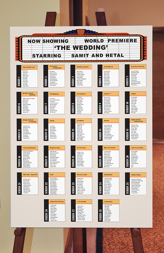 Wedding stationery with personality for Table theme cinema