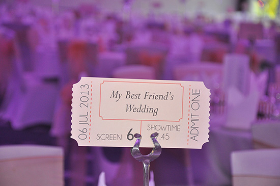 Cinema Ticket Table Name Wedding Theme: wedding stationery personal touches
