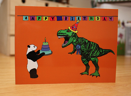 Birthday card with dinosaurs and panda: how to promote your Etsy shop