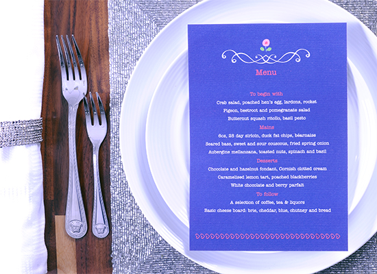 Most Common Wedding Guests Complaints to Avoid: wedding menu in blue and white ink letters