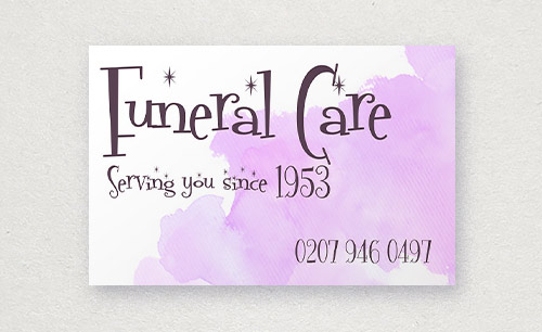 Funeral care business card; inappropriate typography