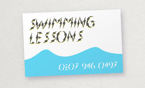 swimming lessons business card: inappropriate typography