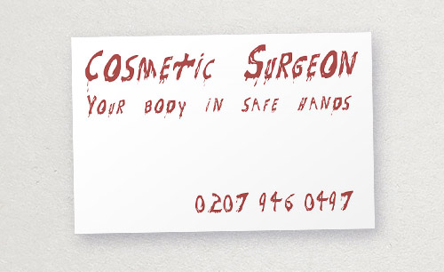 Cosmetic surgeon business card: inappropriate typography