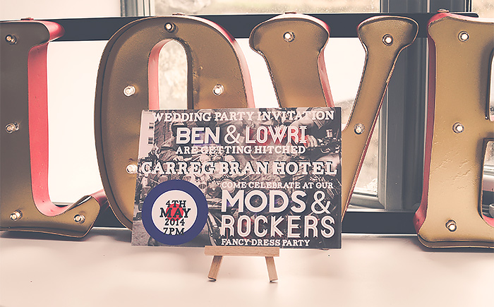 wedding invitation mods and rockers theme
