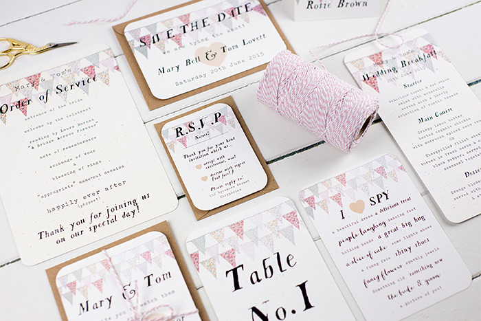 Wedding stationery by Nina Thomas with banners print on the top