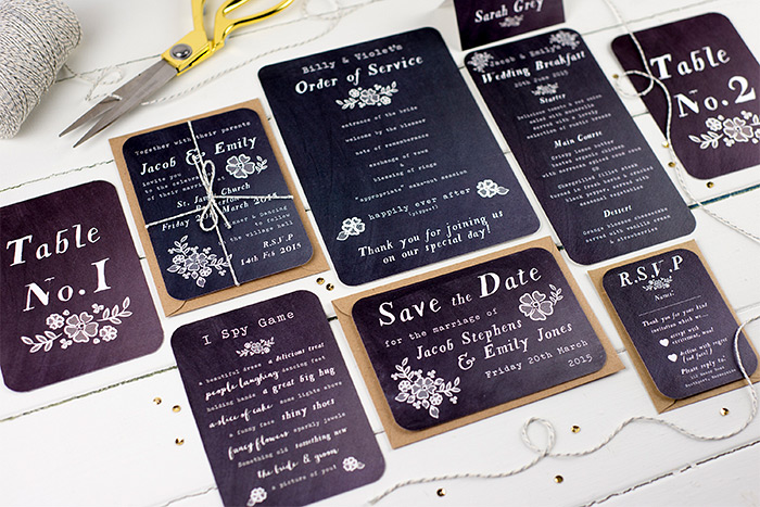 Wedding Stationery by Nina Thomas in black paper and white ink letters