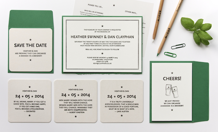 Lettica wedding stationary with save the dates, coasters and wedding invitations