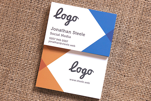Printed business cards stitting on hessian cloth