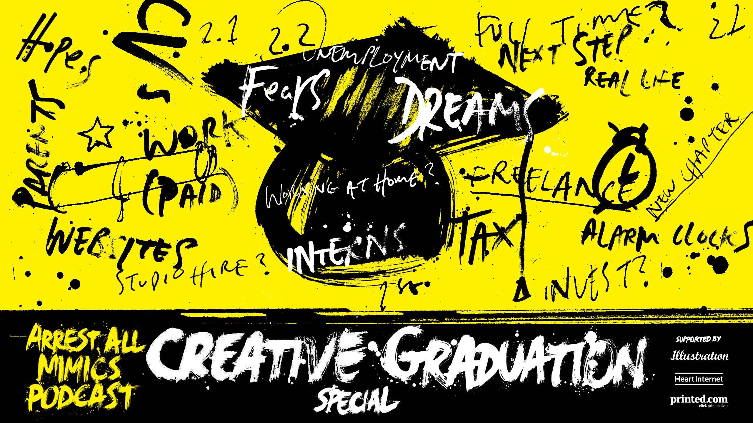 Arrest all mimics podcast creative graduation special artwork in yellow and black