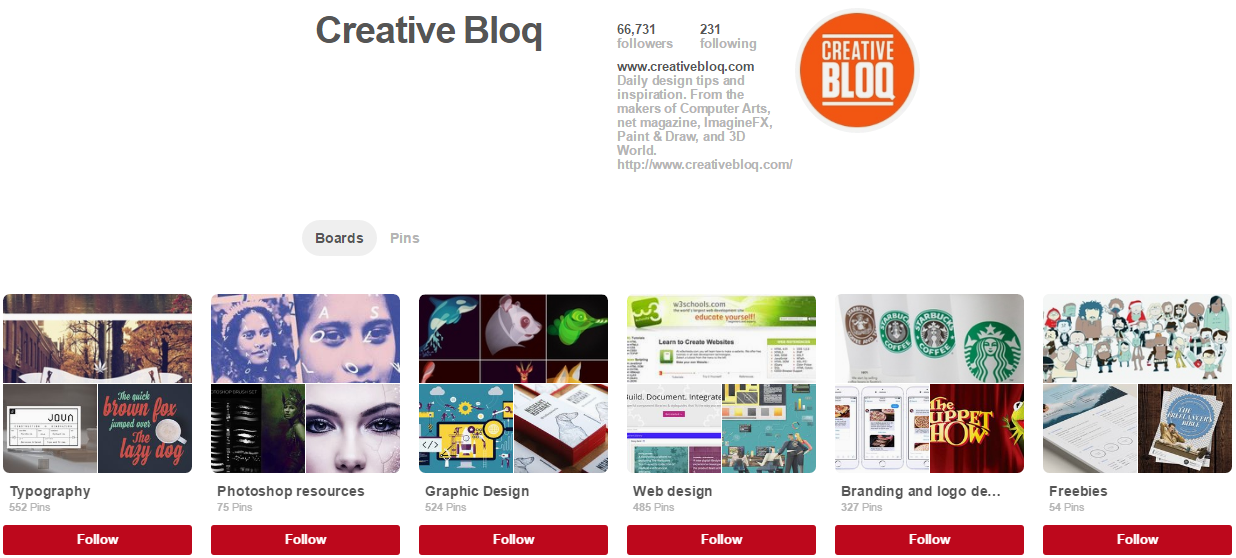 Creative Bloq Pinterest Accounts