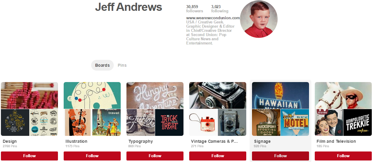 Jeff Andrews Pinterest Accounts