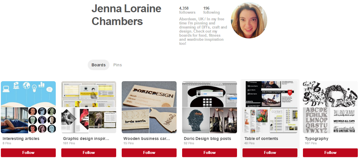 Jenna Lorraine Chambers Pinterest accounts