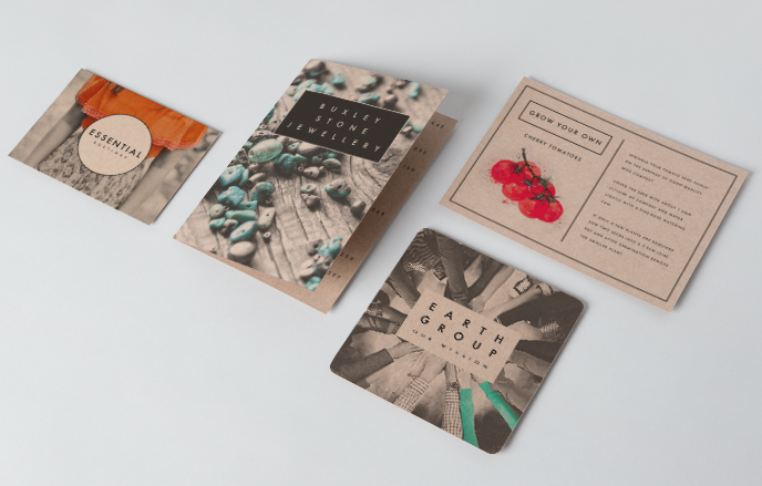christmas print list: printed envelopes, postcards and greeting cards in kraft paper