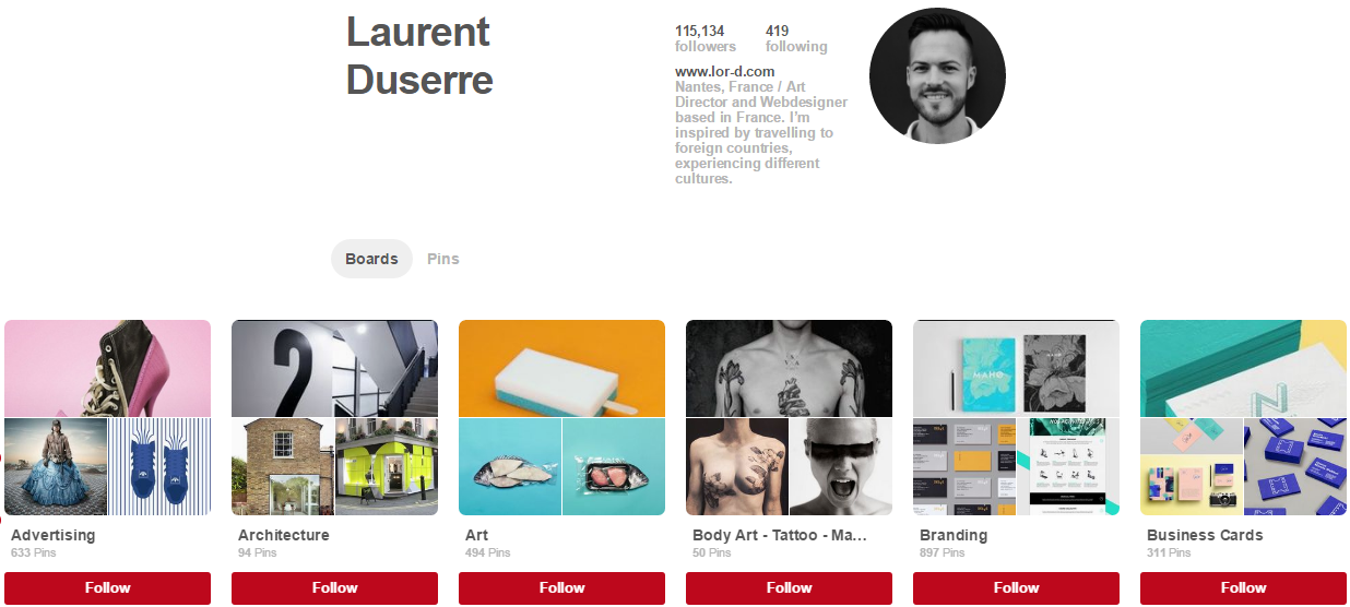 Laurent Duserre Pinterest Accounts