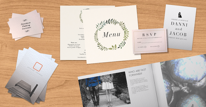 christmas print list: luxury paper stocks in business cards, postcards, menus and saddle stitched brochures