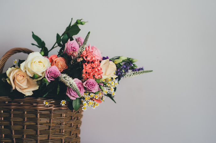 How to Take Product Shots on Budget? Basket with flower photoshoot