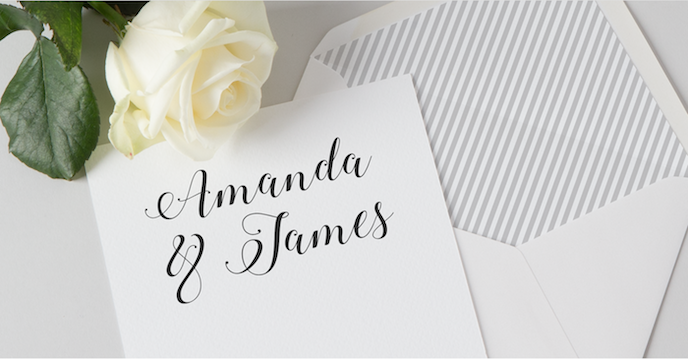 christmas print list: wedding invitations and envelope liners with line pints in blue