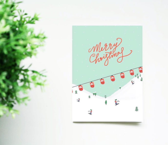 Pink Friday Inspiration: Christmas cards by Martha Ratcliff Illustration in green and red with snow and sky station