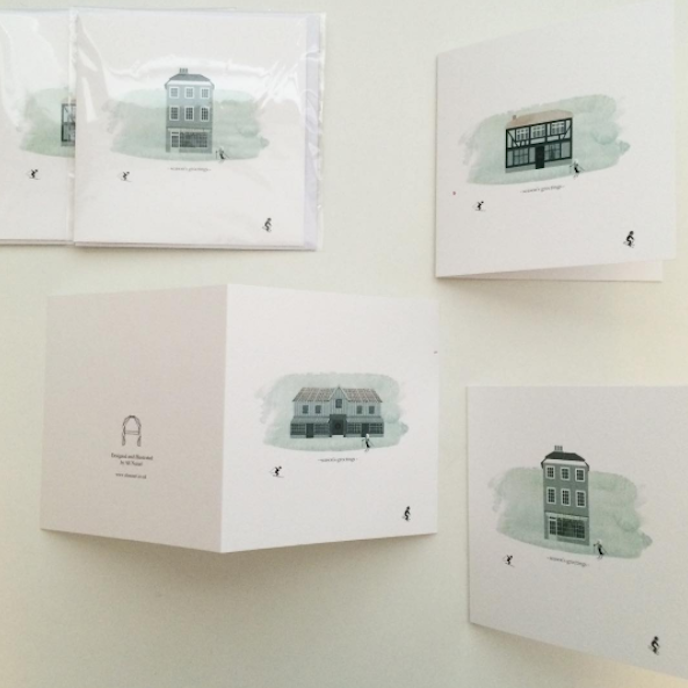 Pink Friday: Greeting cards by Ali Nazari with traditional houses on the front