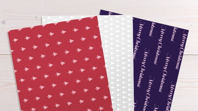 christmas print list: wrapping paper in printed red, grey and black