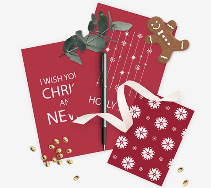 christmas print timeline with red christmas cards in white ink