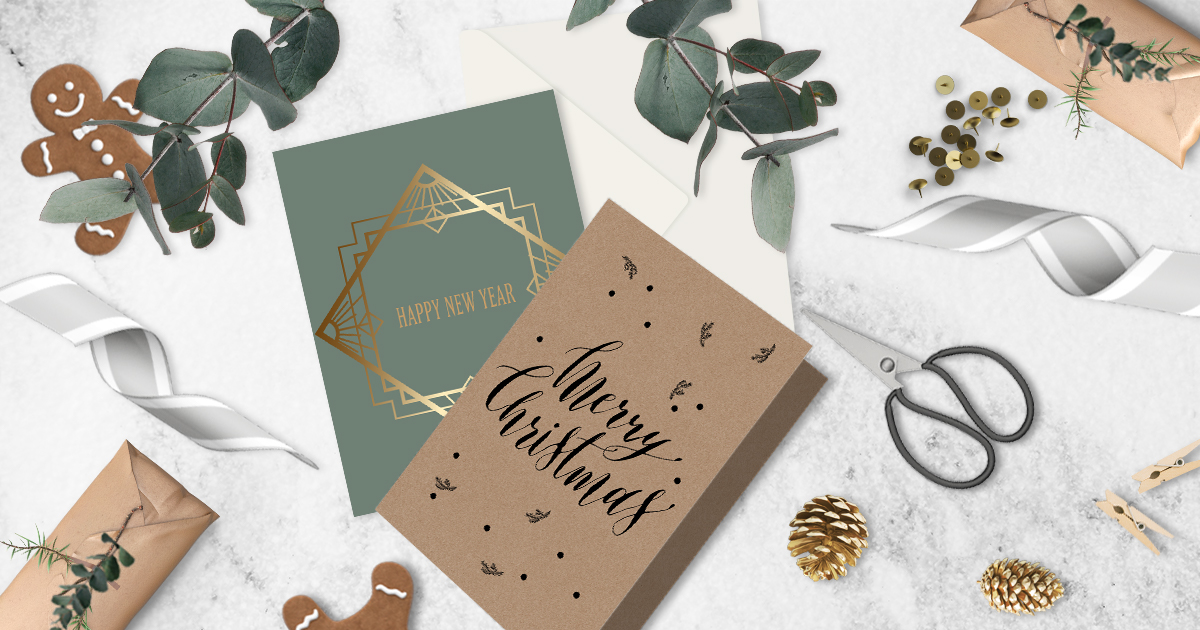 christmas print timeline, christmas cards in green and brown with foiling