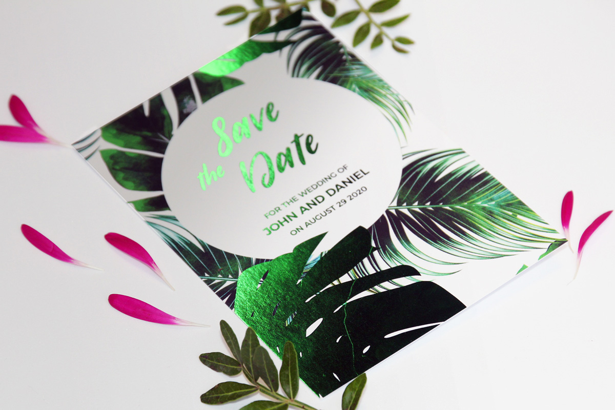 How to Use foiling - Save the Date Cards in Green Foiling