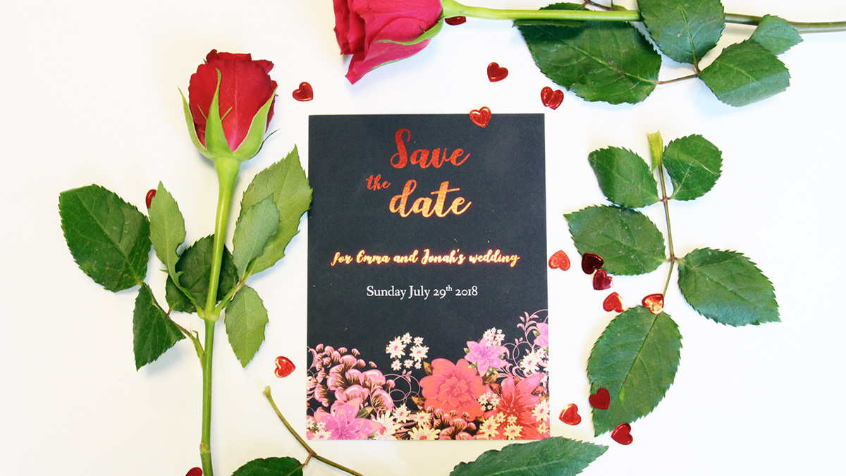 How to Use foiling - Save the Date Cards in Gold Foiling and black background