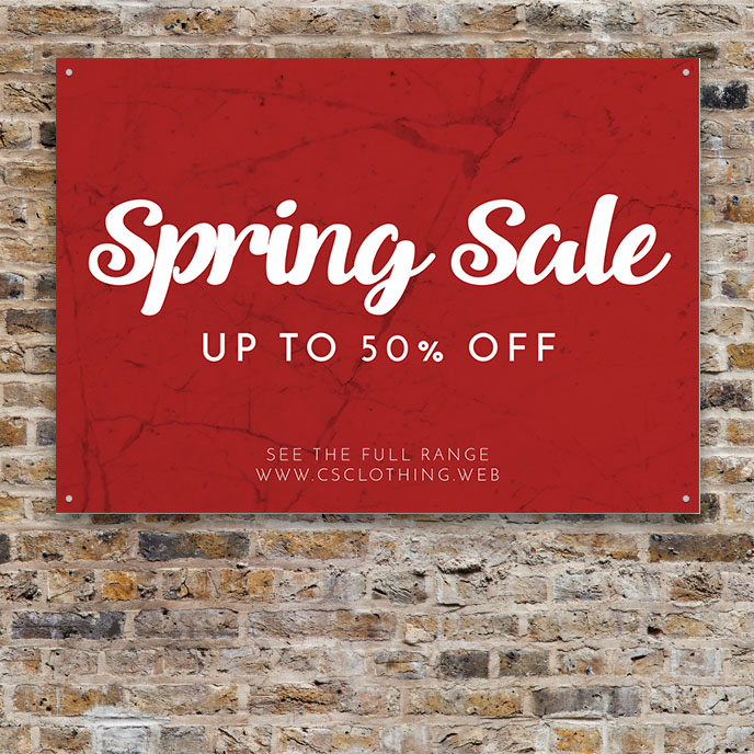 Tips for Signs: Signare in red with spring sale sentence in white