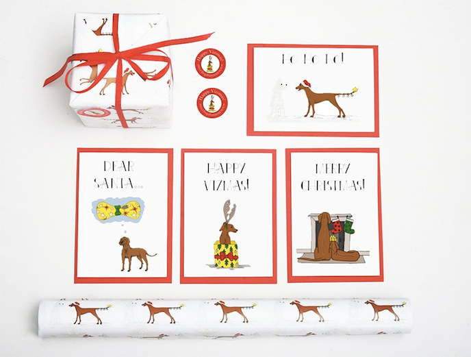 Friday's Favourites: Celebration Christmas Prints . Greeting Cards, Wrapping Paper and Stickers by Spike The Vizsla
