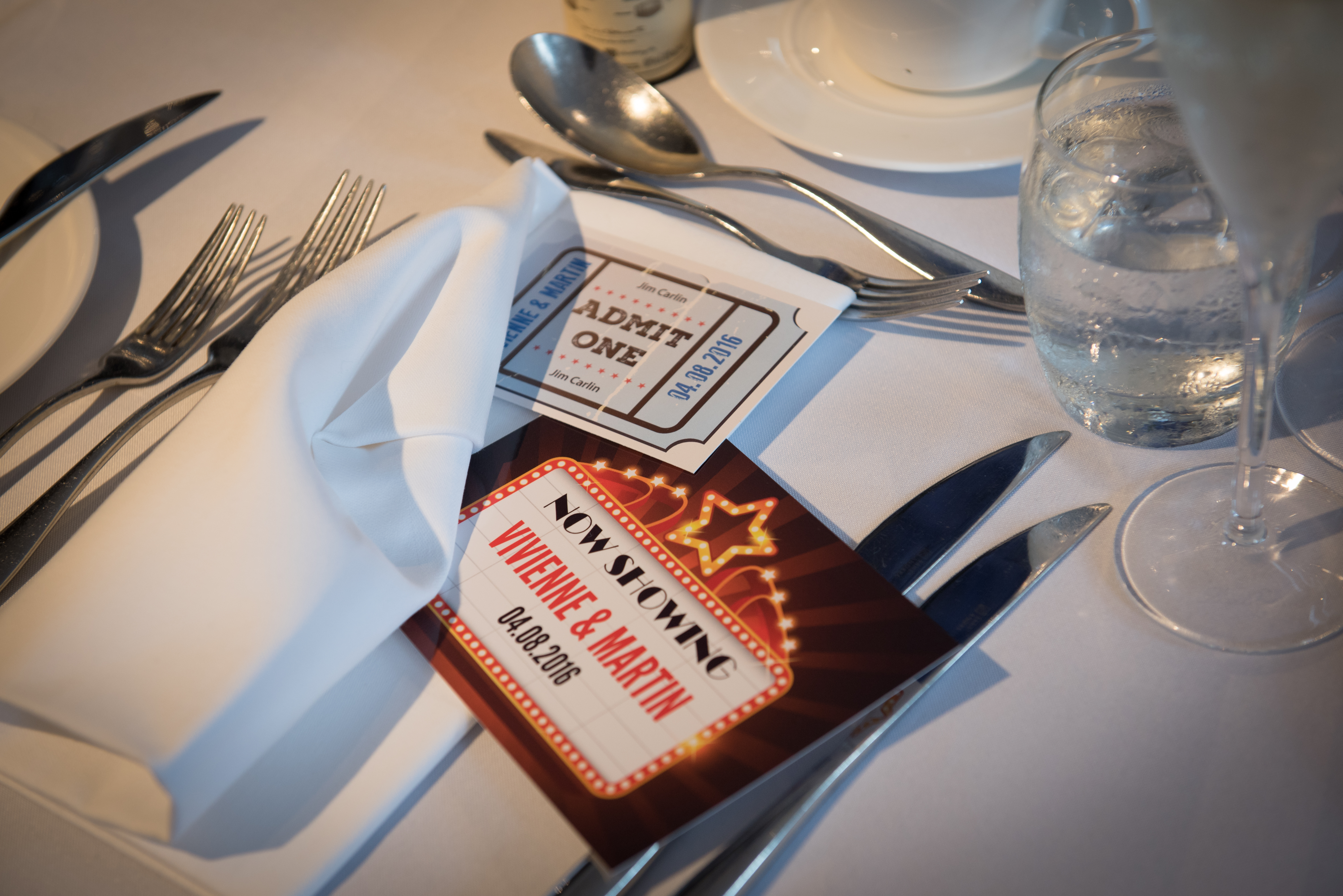 Wedfest Table cards with cinema design for wedding