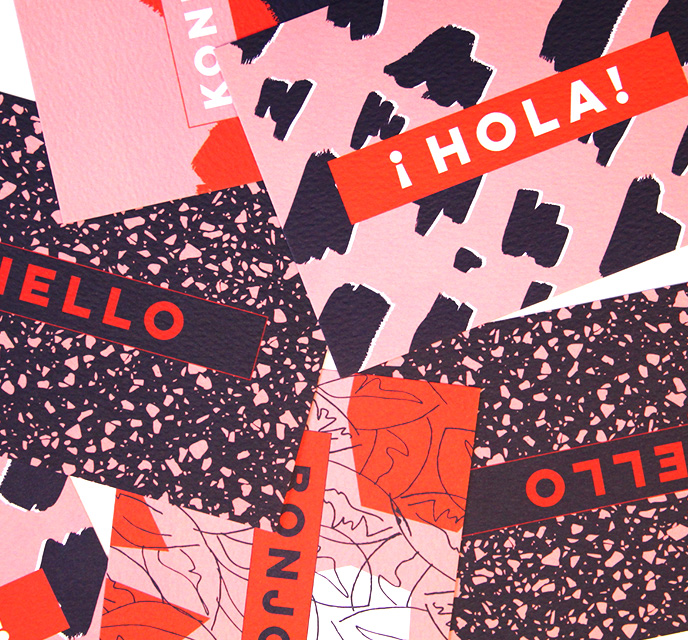 Top Drawer S/S18 pink, the completist red and black cards with hello message in different languages