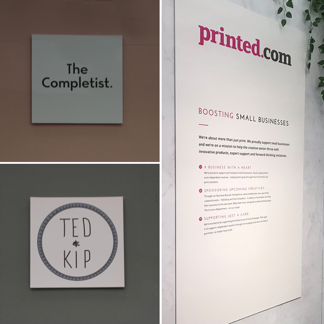 Printed.com display board at Top Drawer S/S18 and the completist and ted & kip logo